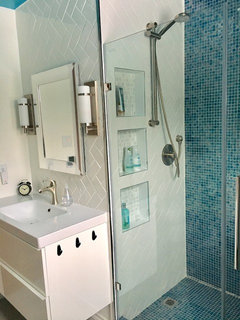 Trend We love the recycled glass tile we used and the wonderful watery feel it gives the bathroom Also putting in a horizontal herringbone helps to make the