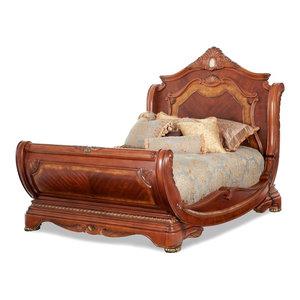 AICO Furniture, Cortina Sleigh Bed, Honey Walnut, Queen