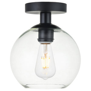 1-Light Flush Mount With Clear Glass, Black and Clear