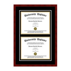 """Double Diploma Frame with Double Matting, Classic Cherry, 8""""x10"""""""