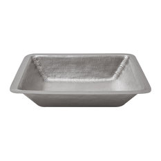 Rectangle Under Counter Hammered Copper Bathroom Sink in Electroless Nickel