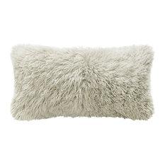 - Grable Modern Milk White Curl Long Wool Lumbar Pillow, 11x22 - Decorative Pillows