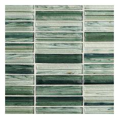 Tara Stacked Glass Mosaic Tile, Green