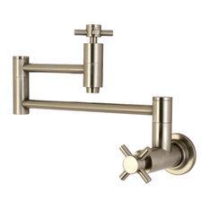 Kingston Brass Wall Mount Pot Filler Kitchen Faucet, Brushed Nickel