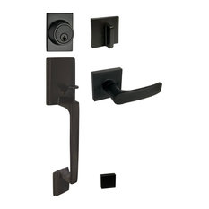 Square Contemporary Door Lever, Style 8048, Black, Handleset