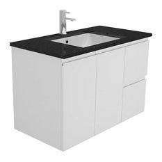 - 90cm Wall Hung with Black Stone Top - Bathroom Vanities