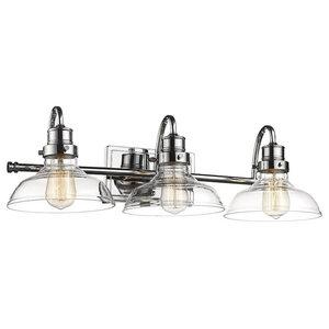 "Millennium Lighting 3-Light Vanity, Chrome/Clear, 8"""