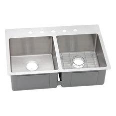 Elkay Crosstown Stainless Steel Double Bowl Dual-Mount Sink Kit, Polished Satin
