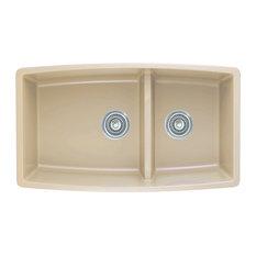 """BLANCO - Blanco 441314 19""""x33"""" Granite Double Undermount Kitchen Sink, Biscotti - Kitchen Sinks"""