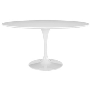 """Lippa 60"""" Oval Wood Top Dining Table, White"""