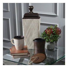 "Sagebrook Home Convex Brown Jar With Handle Box,  6.75"""