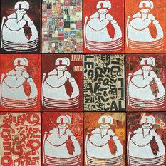 - 9 MARIANAS, 66x64,5 cm, collage y acrílico sobre lienzo - Cuadros