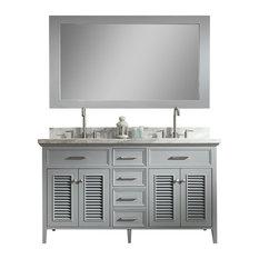 "Ariel Kensington 61"" Double Sink Bathroom Vanity Set, Grey"