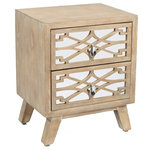 Gild Design House - Emma Sidetable - Store your household items in style with this unique side table featuring carved trellis drawers. The ash brown finish makes this statement piece easy to match, and the mirror accents further enhance its visual appeal