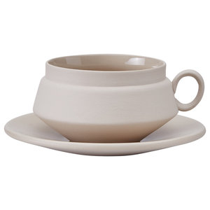 Ceramic Teacup and Saucer, Grey