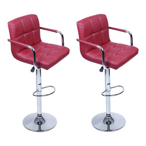 2-Bar Stool Set, Faux Leather With Backrest, Armrest and Chrome Footrest, Red Wi