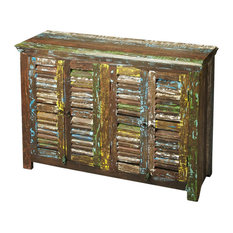 Harvey Reclaimed Wood Sideboard With 4 Shutter Doors Multi Color
