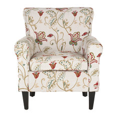 Hazina Club Chair, White-Red Flower Printed