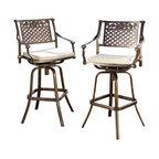 Sierra Outdoor Cast Aluminum Swivel Bar Stools With Cushions, Set of 2