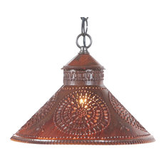 Punched Tin Pendant Shade Light, Rustic Tin