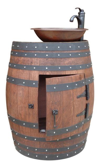 Bordeaux French Oak Wine Barrel Bathroom Vanity With Hammered Copper - Wine barrel bathroom vanity