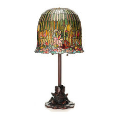 River Of Goods   13829 Tiffany Style Hanging Lotus Table Lamp   Table Lamps