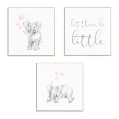 "Stupell Ind. Let Them Be Little Elephants Wall Plaque Set, 3pc, each 12""x12"""