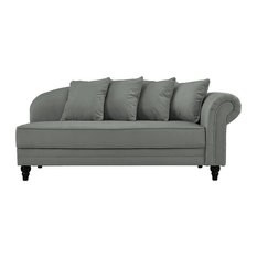 sofamania classic velvet chaise lounge with nailhead accents dark gray indoor chaise lounge
