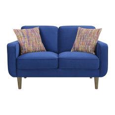 Pemberly Row Velvet Loveseat With Wood Legs In Bold Blue