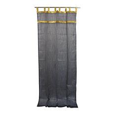 "Mogul Interior - 2 Sheer Organza Curtains Drapes Black Golden Sari Border Window, 48x96"" - Curtains"