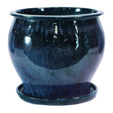 "Lees Pottery DB10021-08D 8"" Blue Solid Studio Glazed Planters, Pack of 2"