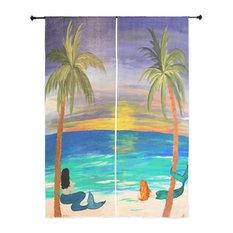 "Mermaid Art Sheer Curtains, 30""x84"", Coastal Mermaids"