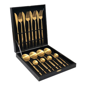 24-Piece 18K Gold Plated Brushed Stainless Steel Flatware Set (6 Settings) + Box