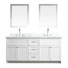 "ARIEL - Hamlet 73"" Double Sink Vanity Set with White Quartz Countertop, White - Bathroom Vanities and Sink Consoles"
