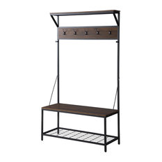 "70"" Industrial Bench Hall Tree Entryway Storage Shelf Coat Rack, Dark Walnut"