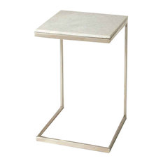 Lawler Square Shaped Nickel Metal & Marble End Table Multi-Color