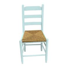 Beach Mountain Wood Ladderback Dining Chair 80W Coastal Blue