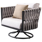 Higold - Higold - Crown Swivel Rocker Club Chair, Minimalism Outdoor Furniture Chair - Crown Collection - Crown collection is among the great designs to follow nordic style beige fabric and grey frame combination send your house a minimalism feeling. Contemporary design make your house more stylish and likeable.