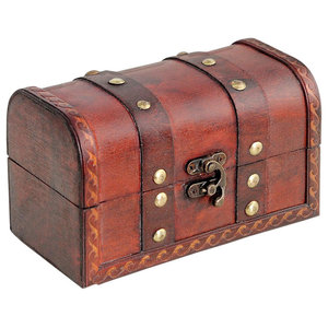 Traditional Treasure Storage Chest, Brown Finished Solid Wood, Old Pub Design