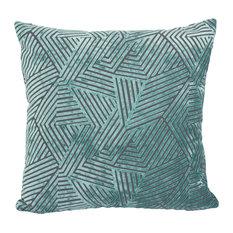 Olivia Geometric Cut Velvet Pillow, Turquoise
