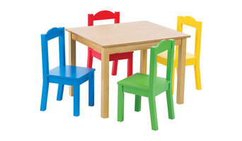 Tot Tutors Primary Focus Wood Table and Chairs Set