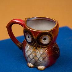 - Set of 2 Owl Shaped Ceramic Mugs - Red - Mugs