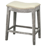 New Pacific Direct - Elmo Bonded Leather Counter Stool, Beige - The Elmo Bonded Leather Counter Stool is the perfect no-nonsense, casual seat for your kitchen or bar area. A beige leather seat with silver nailhead trim sits atop mystique gray legs, making your kitchen island the hub of the home. And its nailhead detailing and classic shape makes it a versatile, rustic piece if your design scheme changes. Grab a few for your new favorite entertaining space.