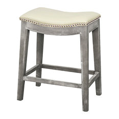 Elmo Bonded Leather Counter Stool, Beige