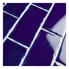 "2.5""x5.13"" Nove Subway Ceramic Wall Tile, Set of 60, Azure"