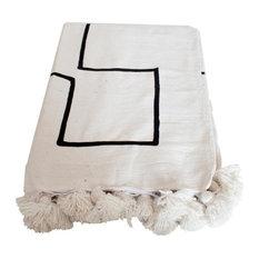 Moroccan Pom Pom Blanket White on Black, Black on White
