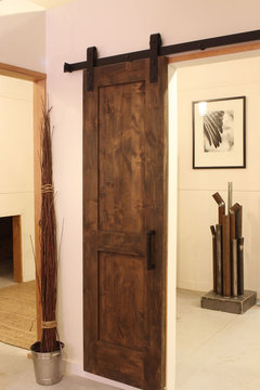 This is Industrial Barn Door Hardware you can find it with prices on our website. Got to //rusticahardware.com/industrial-barn-door-hardware/ & Barn style sliding door - Farmhouse - Hall - Charlotte - by ... pezcame.com