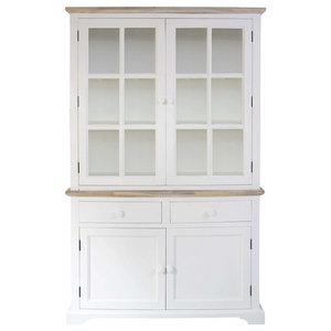 Display Cabinet, Solid Wood With Inner Shelves and 2 Spacious Drawers, White