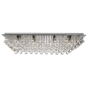 Hanna 8-Light Chrome Rectangle Flush With Crystal Balls
