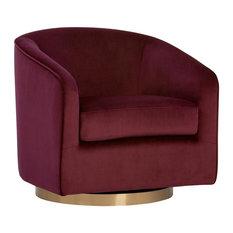 Tishie swivel chair - burgundy sky fabric